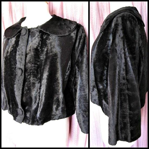 50s velvet jacket / fits M / 1950s velvet jacket /