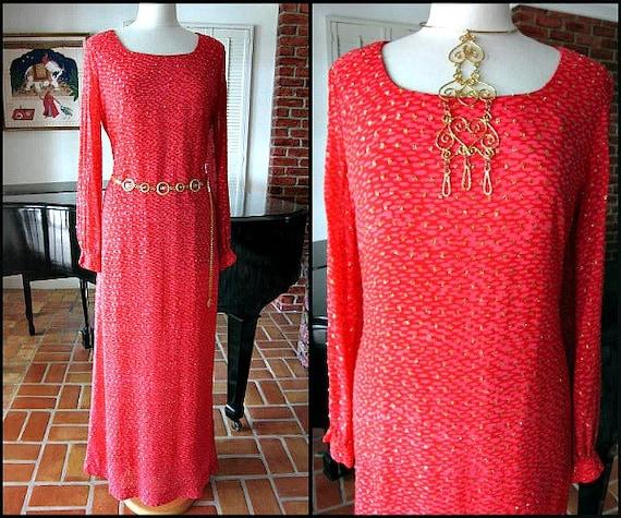 70s BOHO Gown / fits L / Boho lame dress / Vintage