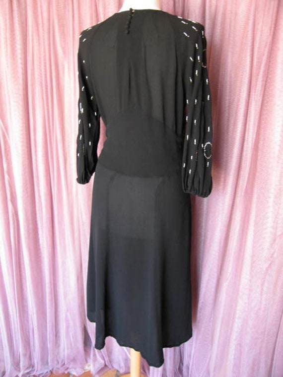 40s Black Crepe Dress / 40s LBD / fits S / 40s Co… - image 5
