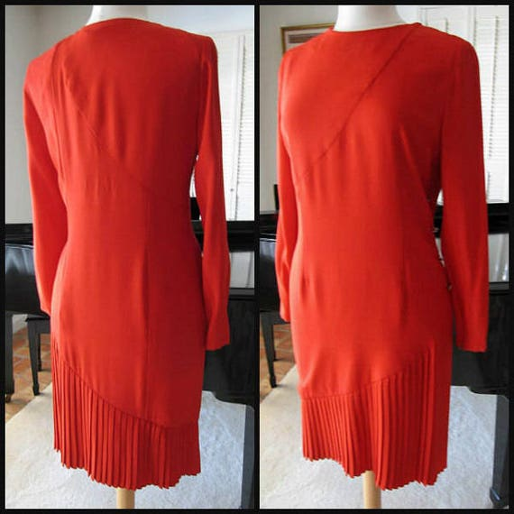 BILL BLASS Red Dress / Vintage Bill Blass Dress /