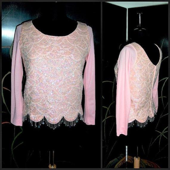 Pink Sequin Top / Vintage Pink Sequin Sweater / 50