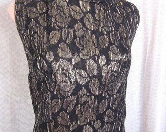 Gold Brocade Roses// CATHY GRAY top blouse shell // fits S // Vintage 50s 1950s