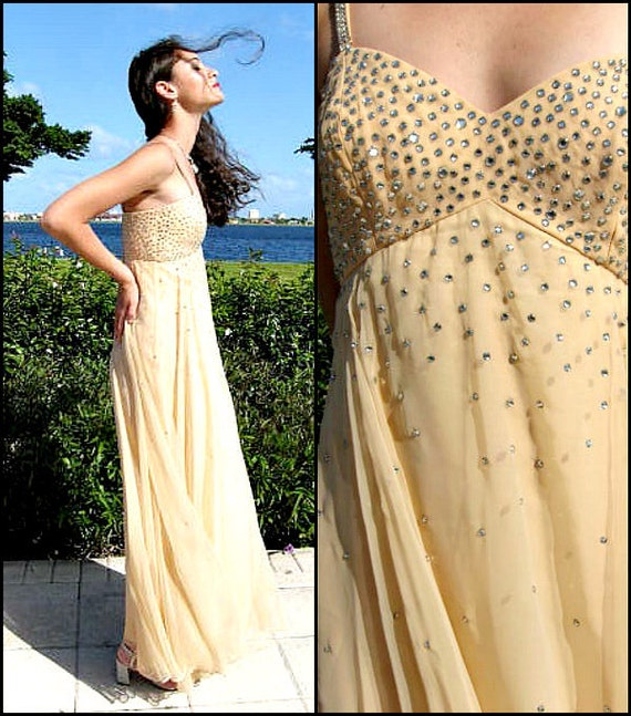 Rhinestone Chiffon gown / fits XS / Nude Chiffon … - image 3