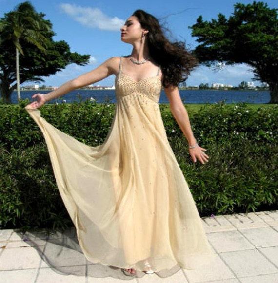 Rhinestone Chiffon gown / fits XS / Nude Chiffon … - image 2