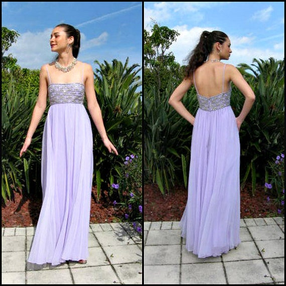 Victoria Royal Gown / Vintage Lavender Gown / Silv