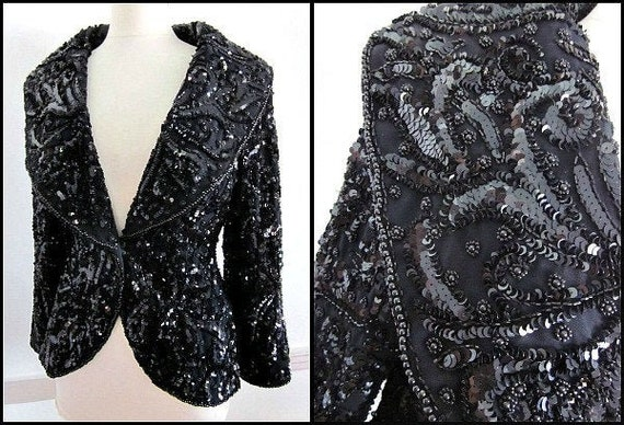 Luxe Beaded Blazer / Sequined Blazer / fits S / Se