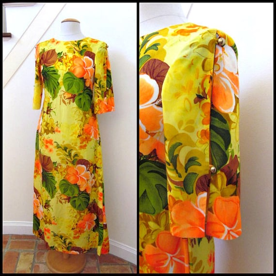 Hawaiian Dress / Hawaiian gown / fits S / vintage