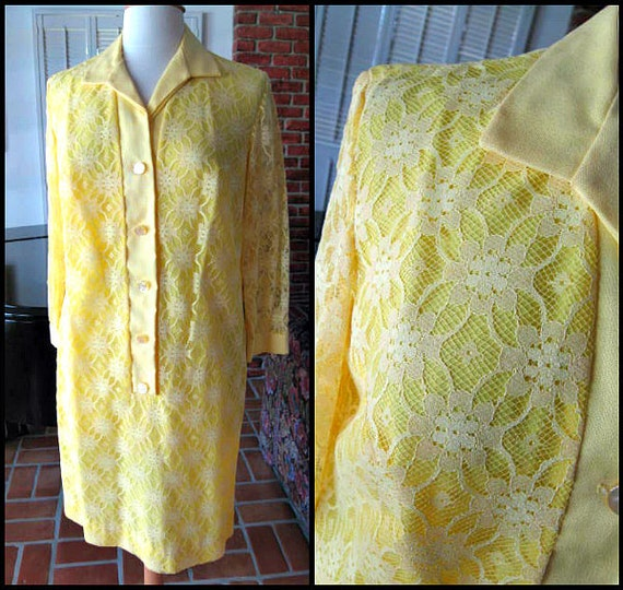 GISELLE Miami Dress / fits M-L / 60s yellow lace d