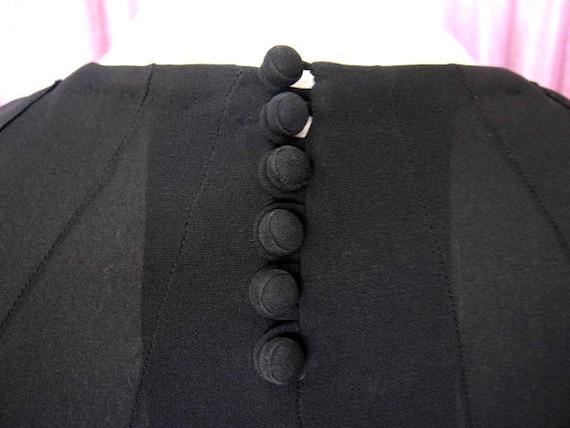 40s Black Crepe Dress / 40s LBD / fits S / 40s Co… - image 10