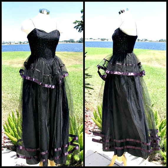 Vintage Black Tulle Gown / fits XS / 70s Goth Gown