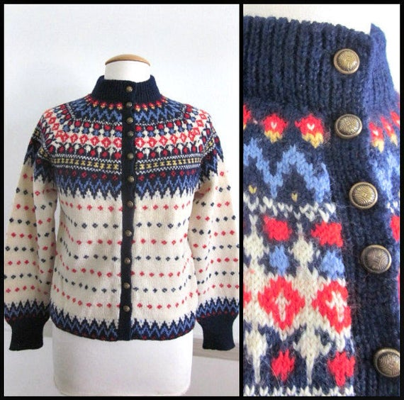 50s Danish Sweater Paul Mage Sweater Handmade Ski Sweater Vintage Danish Hand Knit Cardigan fits M Vintage Paul Mage Cardigan