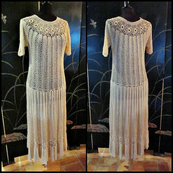70s Crochet Dress / Vintage Crochet Dress / fits S