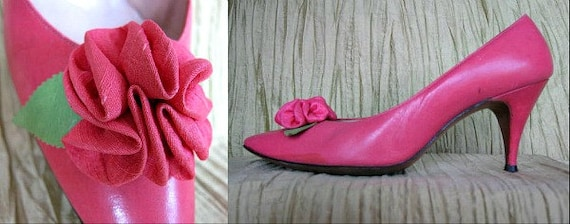 1950s Pink Flower Shoes // D'ANTONIO with Lido Las