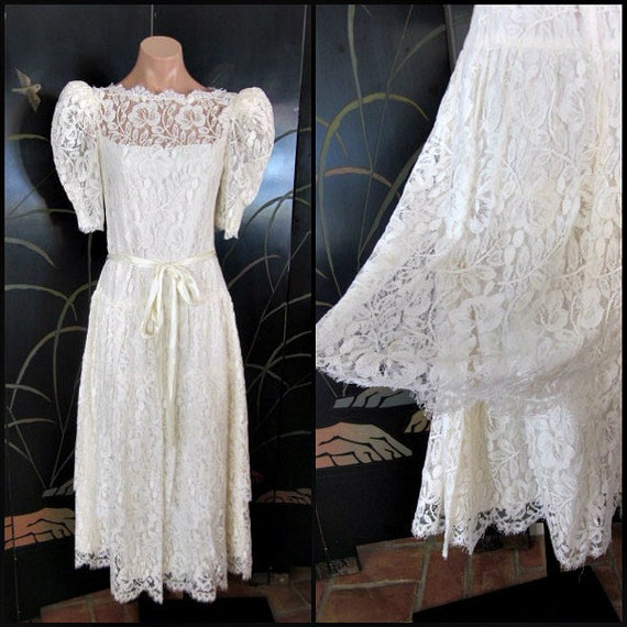 Lace Wedding Dress / Ivory lace Wedding Dress / Vi