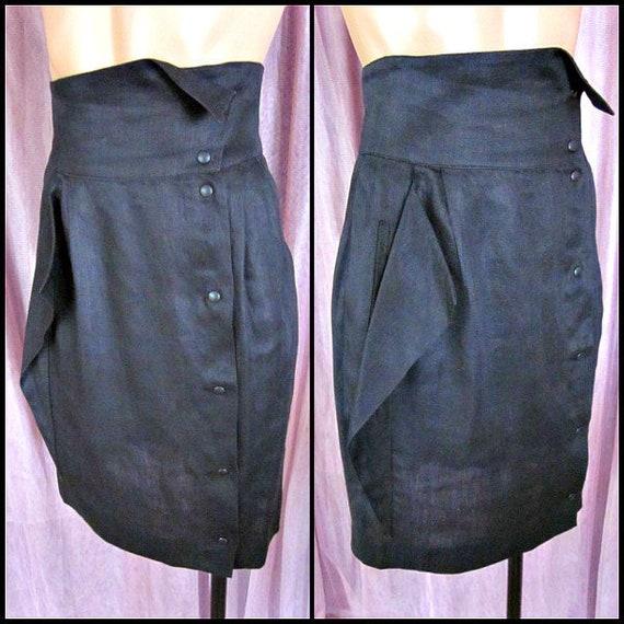 black Linen skirt / attr to Thierry Mugler / Itali