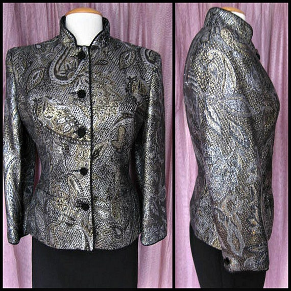 Vintage Metallic Jacket / fits S / 80s Gold and Si