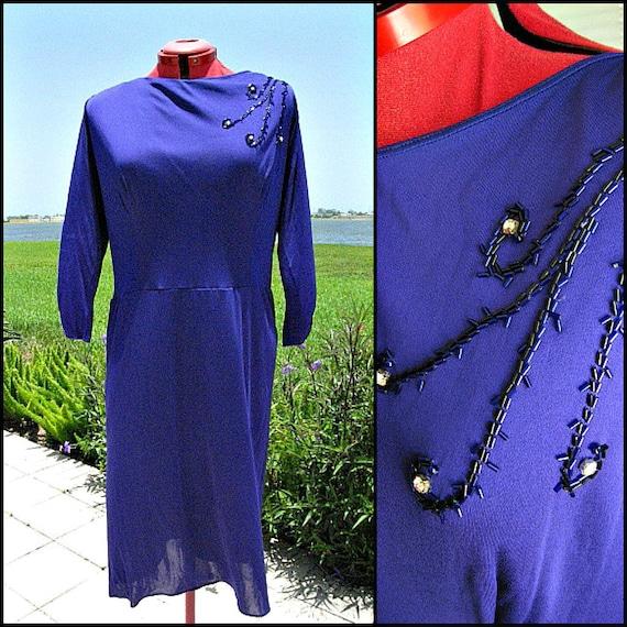 50s Blue Dress / fits L-XL / 1950s Blue jersey Dre