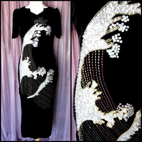 Velvet beaded gown / Vintage Velvet Gown / Silk Ve