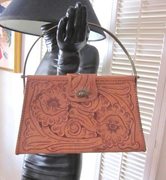 Vintage Tooled Purse / 60s Tooled Handbag / Tooled