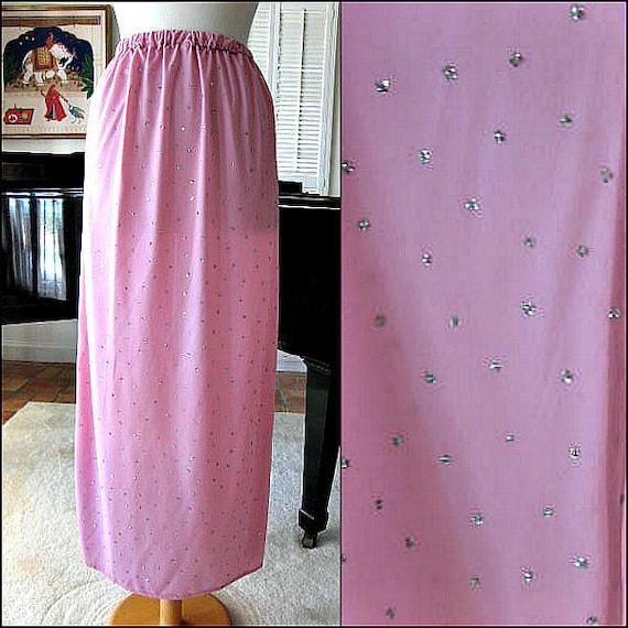 Pink Glitter Skirt / 70s Disco Era Maxi Skirt / fi