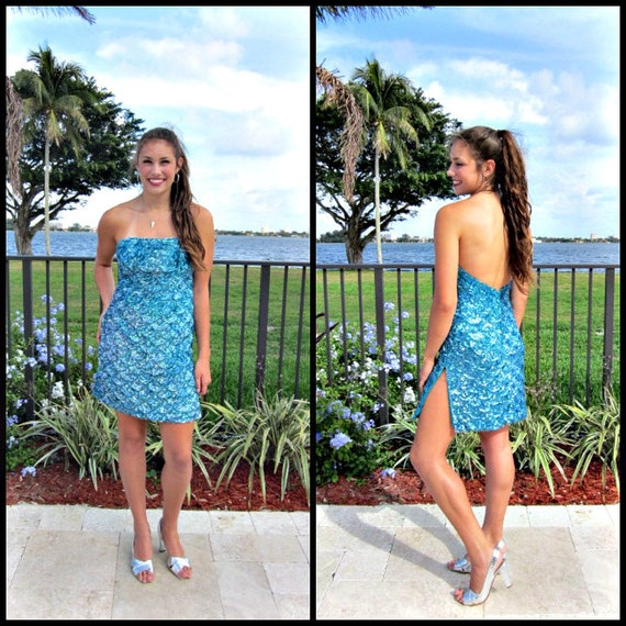 Turquoise Beaded Dress / fits M / Turquoise Sequin
