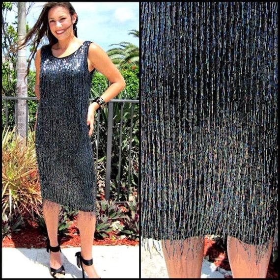 Vintage beaded dress / Vintage Fringed Dress / 80s