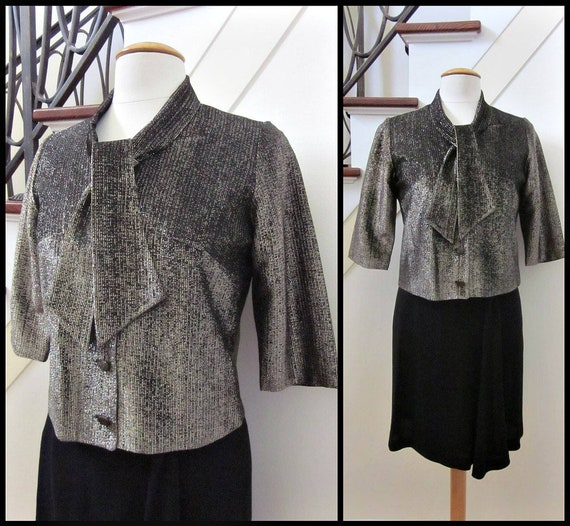 Vintage Gold Lame blouse / fits S / 60s Lame' Blou