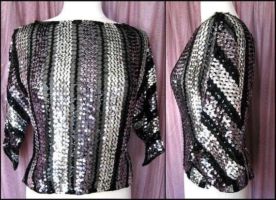 CHARLES GLUCK 60s Mod Sequin top / fits S /  Mod S
