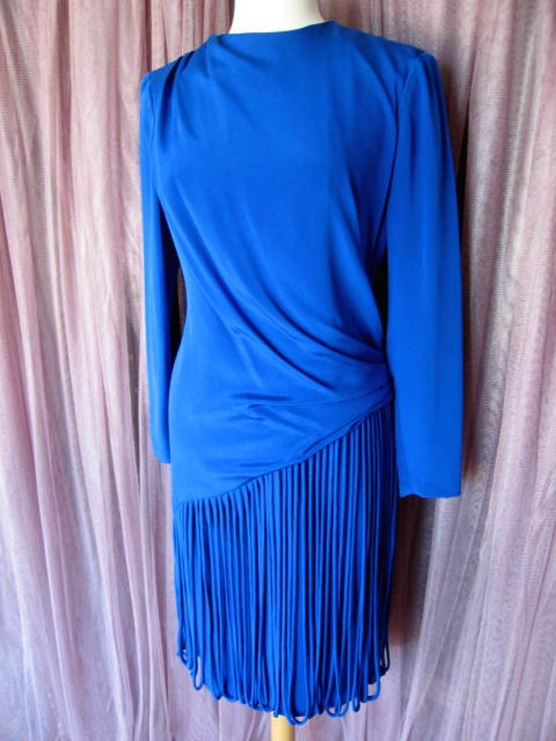 Mignon Dress  Vintage Mignon Dress  Blue Fringed Dress  fits M  Electric Blue Fringed Dress  Vintage Fringed Dress  Flapper Fringe