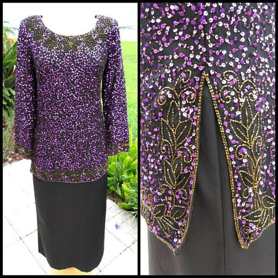 Purple Sequin Tunic / Vintage Purple Sequin Tunic