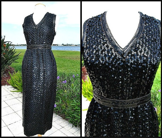 60s SEQUIN GOWN / fits S / Mardi Gras dress / Mard