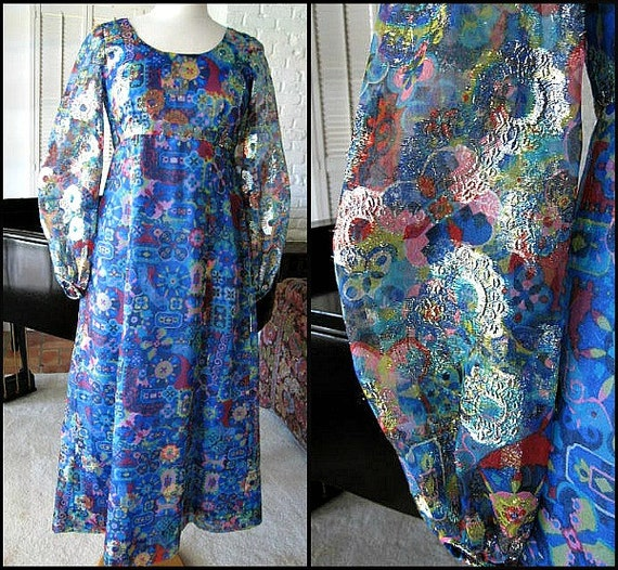 60s Lame Gown / fits S / Vintage 60s Metallic Lame