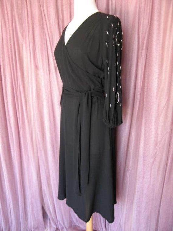 40s Black Crepe Dress / 40s LBD / fits S / 40s Co… - image 3