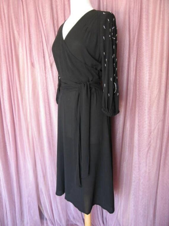 40s Black Crepe Dress / 40s LBD / fits S / 40s Co… - image 7
