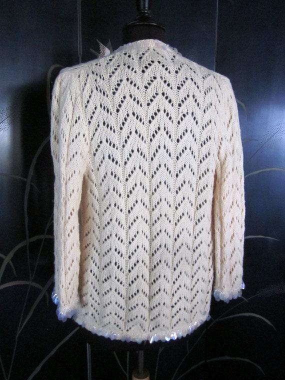 Hand knit 50s Cardigan / fits S-M / Vintage 50s p… - image 4