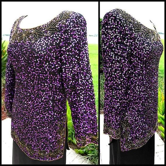 Purple Sequin Tunic / Vintage Purple Sequin Tunic… - image 2