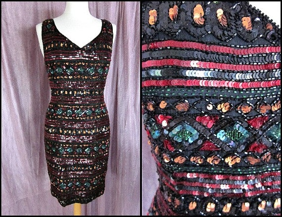 Vintage Beaded Dress / Adrianna Papell Dress / fit