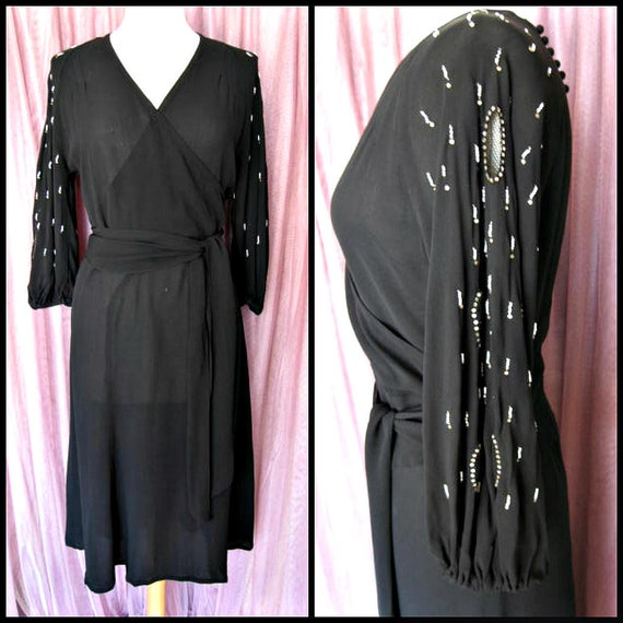 40s Black Crepe Dress / 40s LBD / fits S / 40s Coc