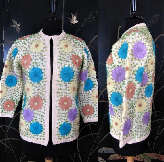 Embroidered Cardigan Sweater / Boho Yarn Embroider