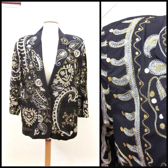 Metallic Embroidered Blazer / Gold Silver Embellis