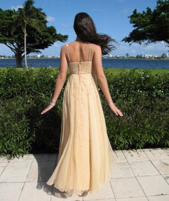 Rhinestone Chiffon gown / fits XS / Nude Chiffon … - image 4