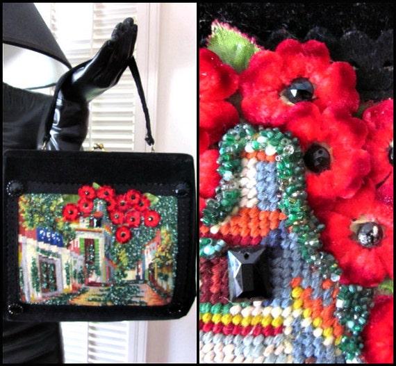 BEST and CO velvet handbag / huge velvet purse / 5