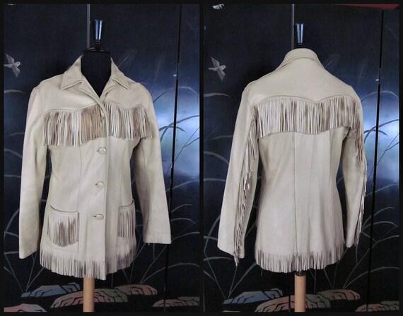 Vintage Fringed Leather Jacket / fits M / 60s Frin