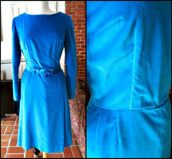 50s Velvet Dress / fits M / 1950s Turquoise Velvet
