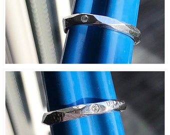 Handmade Diamond set textured band ring