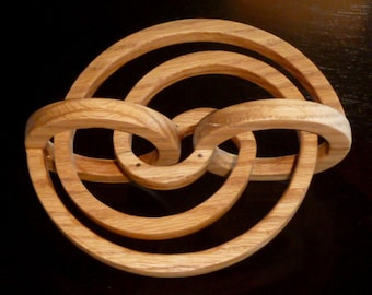 Geometric Spiral Swirl, Abstract logarithm sculpture, one of a kind hand carved