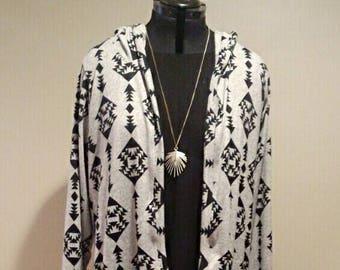 Hooded Tunic Length Cardigan - Long Hooded Tunic - Buffalo Plaid Sweater - Women's Leggings - Gifts for Her - Sweatshirt - Fall Style - Boho