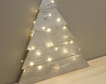 Reclaimed Wood Twinkle Light Tree - Christmas Decor