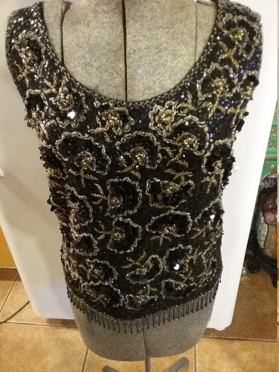Black and gold beaded tank top