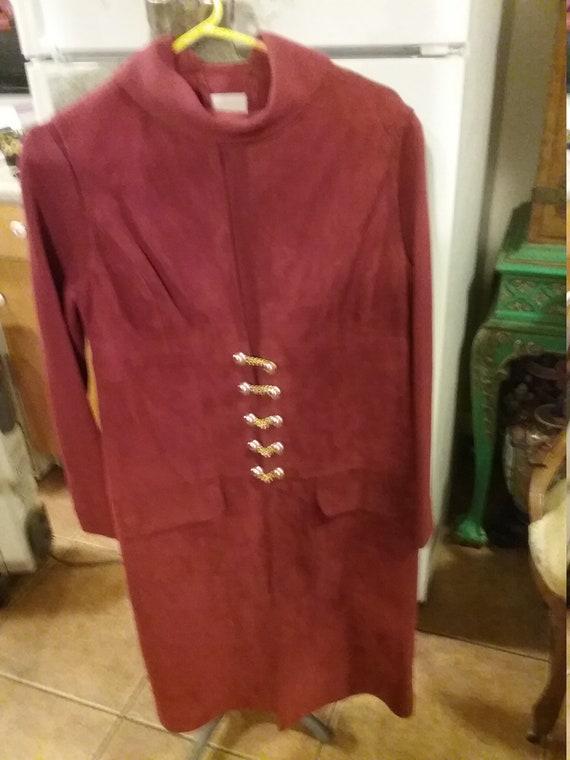 Knit dress suede vest maroon